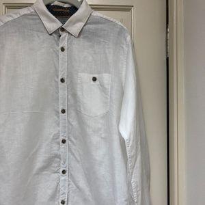 Ted Baker London Linen/Cotton White Button Down